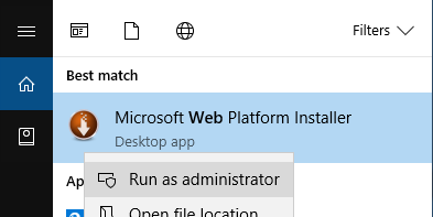 Run WebPi as Admin